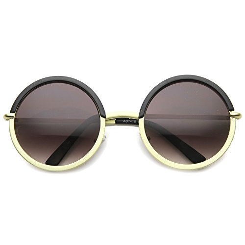 (Oversize Two-Toned Frame Slim Metal Temple Gradient Lens Round Sunglasses 54mm (Black-Gold/Lavender))