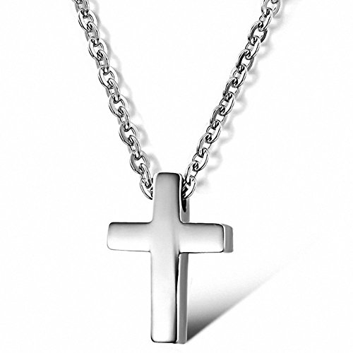 Jwoolw Small Titanium Stainless Steel Simple Glossy Cross Pendant Silver Women/Men Necklace