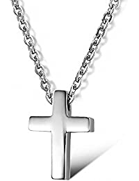 Small Titanium Stainless Steel Simple Glossy Cross Pendant Silver Women/Men Necklace