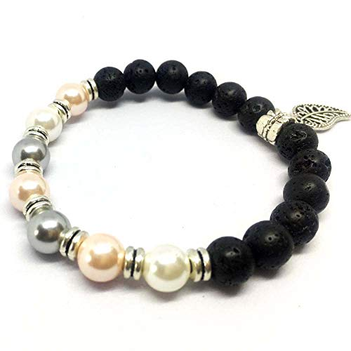 SEY 8mm Pearl and Lava Diffuser Bracelet Essential Oil Natural Beaded with Leaves for Women Girls Gift