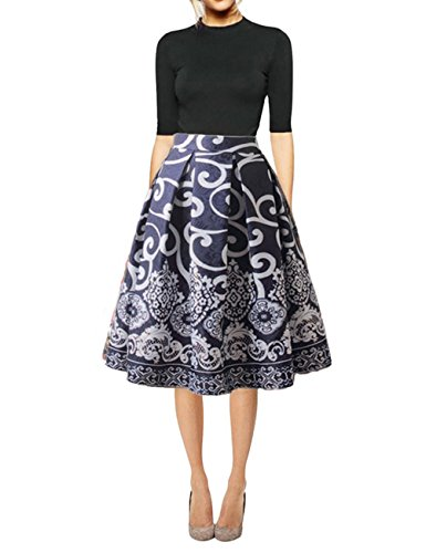 Hanlolo Womens Vintage Skirt High Waisted Pleated Flared Swing Midi Skirts Blue