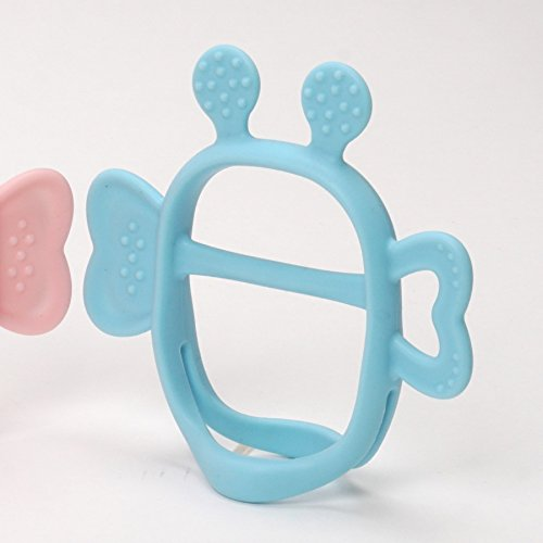 Mama's TEM Wearable Baby Teething Toys with Teether Handle, Eco-Friendly Non-Toxic BPA Free Pure Silicone, Easy to Clean Infant Toys, Newborn Baby Gift (Blue)