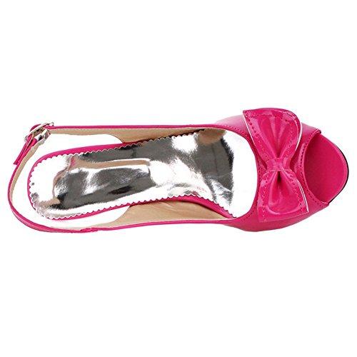 COOLCEPT Mujer Moda sin Cordones Boca Baja Zapatos Slingback Bombas Peep Toe Zapatos con Bowknot Rojo