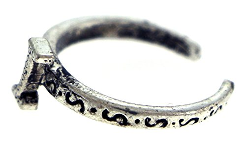 Silver Tone Silver Ring Toe (Antique Silver-Tone Toe Ring With The Letter 'I' Initial TR42A-I)