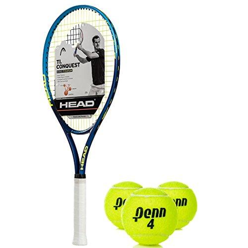 HEAD Ti Conquest Oversized 18x19 NanoTitanium Blue/Yellow Tennis Racquet (4 1/2 Grip) Kit or Set Bundled with (1) Can of 3 Penn Tennis Balls