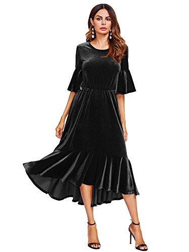 Black Flounce Hem Dress - Floerns Women's Trumpet Sleeve Flounce Ruffle Hem Velvet Midi Dress Black S