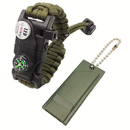 SMADZ Paracord Survival Bracelet & Fox 40 Classic CMG Loud Pealess Whistle for Camping Hiking ARY Green + Green