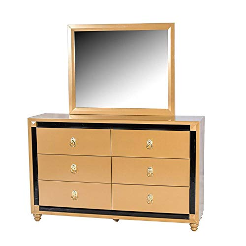 DJ Khaled The Pride Dresser Gold W/Black Trim Bedroom Furniture Set (Dj Dresser)