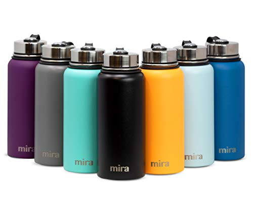 MIRA 22 Oz Stainless Steel Vacuum Insulated Wide Mouth Water Bottle with 2 Caps | Thermos Keeps Cold for 24 Hours, Hot for 12 Hours | Double Walled Powder Coated ()