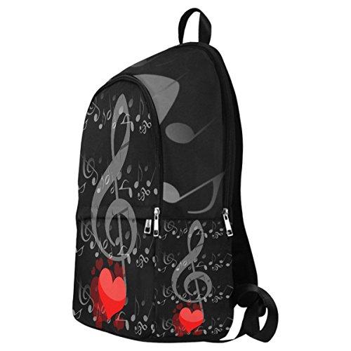 InterestPrint Custom Music Note Love Heart Casual Backpack School Bag Travel Daypack by InterestPrint (Image #2)