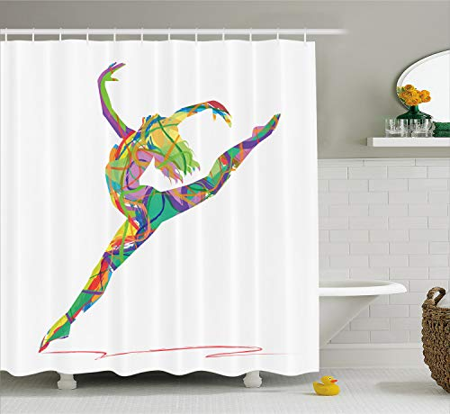 Lunarable Dance Shower Curtain, Abstract Figure of a Dancer with Lively Colored Random Lines Jumping Ballerina Print, Cloth Fabric Bathroom Decor Set with Hooks, 70 Inches, Sea Green
