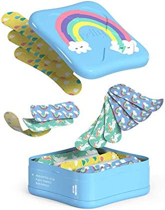 41YKKIKfRiL. AC - Welly Bandages - Bravery Badges, Flexible Fabric, Adhesive, Assorted Shapes, Rainbow And Unicorn Patterns - 48 Ct