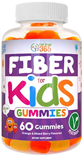 Prebiotic Fiber Gummies for Kids by Feel Great 365 | Improves Digestive Health, Gut Flora, Health & Immunity* | Vegetarian & Vegan Friendly Supplement | Gluten Free, Non-GMO, Made with Fruit Pectin