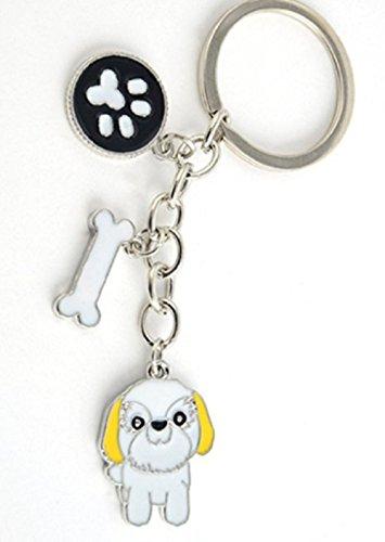 FTH LHASA APSO OR SHIH TZU with Bone & Paw Key Chain.White & Yellow Enamel.Fantastic Dog Mom Gift (Tzu Bone Shih)