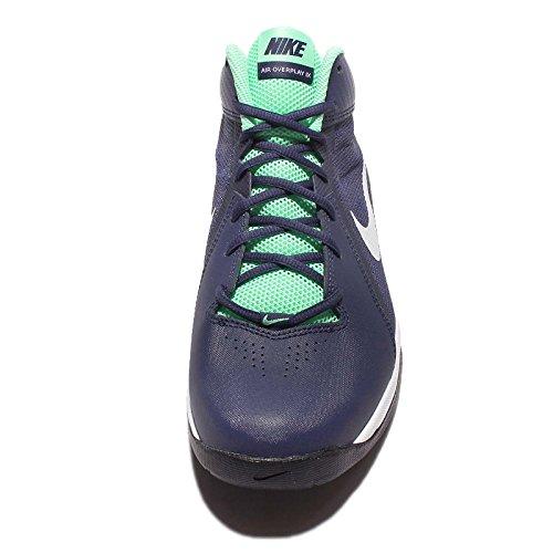 Nike Mens Luften Overplay Ix Basketsko Lojala Blå / Ren Platina / Grön Glöd