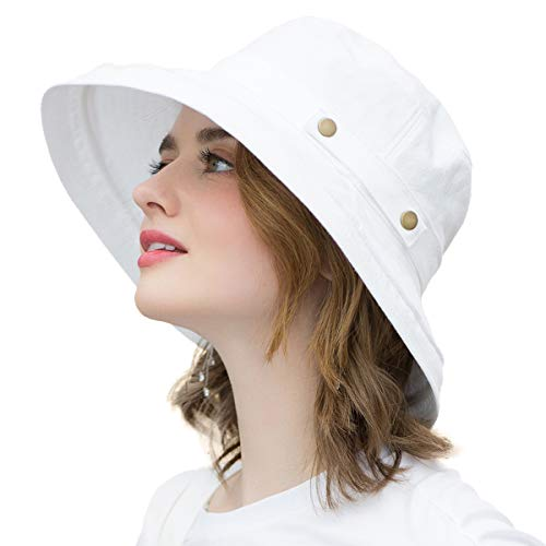 SOMALER Womens Cotton Wide Brim Sun Hats UPF50 UV Packable Beach Hat Summer Bucket Cap for Travel White ()