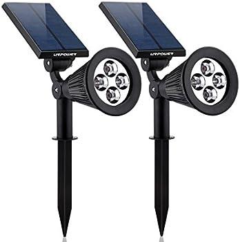 2-Pk Urpower 2-in-1 Waterproof 4 LED Solar Adjustable Wall Light