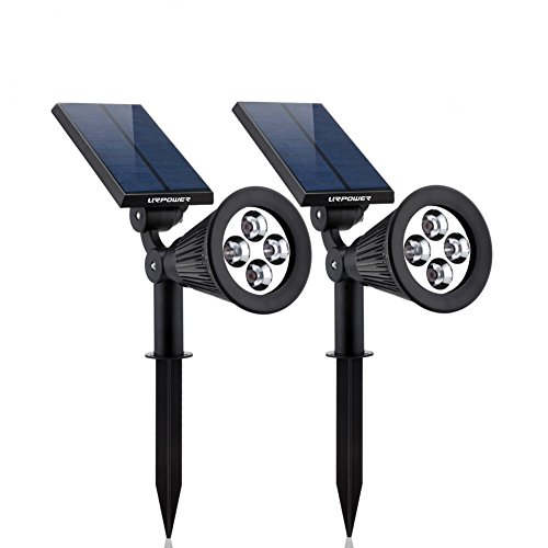 Solar Lights,URPOWER 2-in-1 Waterproof 4 LED Solar Spotlight Adjustable Wall Light Landscape Light Security Lighting Dark Sensing Auto On/Off for Patio Deck Yard Garden Driveway Pool Area(2 Pack) (Solar Outdoor Spot Lights)