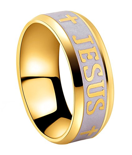 Tanyoyo 8MM Titanium Steel 18k Gold Plated Jesus Cross Ring Size 6-14 (11)