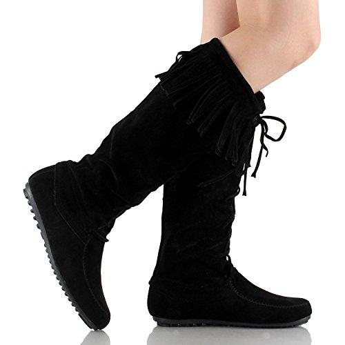 Forever Baylee-09 Womens Fashion Fringe Lace Up Knee High Boots Black GGzbbVzY4