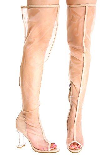 Lolli Couture Peep Toe Côté Fermeture À Glissière Cuisse Haut Clair Transparent Perpétuel Perspex Chunky Haut Talon Bottes Nudepatentnudemesh-m22-6