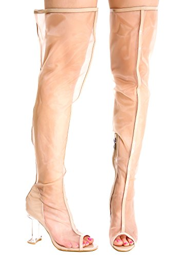 Lolli Couture Peep Toe Dragkedja Lår Höga Klara Transparenta Evighets Perspex Chunky Hög Klack Stövlar Nudepatentnudemesh-m22-6