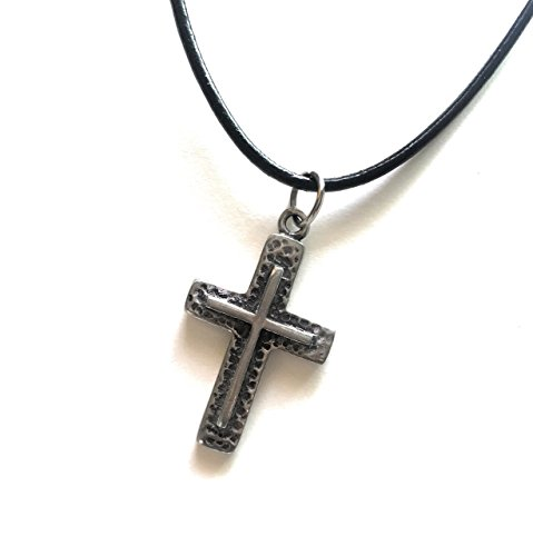Cross Pewter Pendant + Black Shiny Leather 18 Inch 1.5mm. Necklace Lobster Clap Lock (Modern Vampire Costumes)