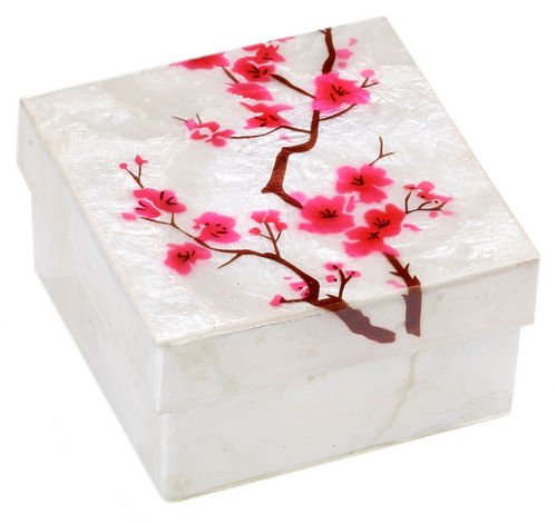 Kubla Craft Cherry Blossoms Capiz Shell Keepsake Box, 3 Inches Square