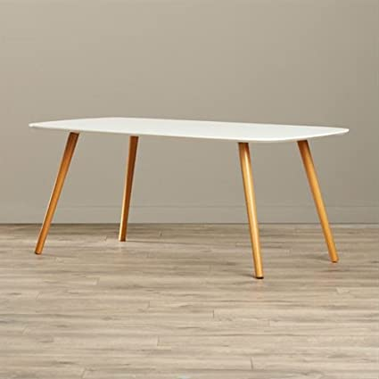 Amazoncom White Top Mid Century Coffee Table With Solid Wood Legs