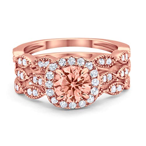 Blue Apple Co. Halo Art Deco Three Piece Wedding Engagement Bridal Set Ring Band Solid Simulated Morganite Rose Tone 925 Sterling Silver, Size-7