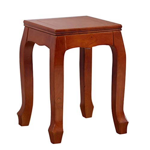 ZHZHPSFD Simple Modern Solid Wood Square Stool Can Be Stacked Table Stool Living Room Stool Dressing Stool Bench A Variety of Colors Optional (Color : Teak Color)