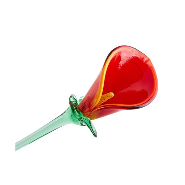 Red Glass Calla Lily Flower, One-of-a-kind, Life Size 20″ long. FREE SHIPPING to the lower 48, when you spend over $35.00