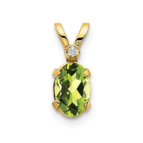 (14k Yellow Gold Diamond Green Peridot Birthstone Pendant Charm Necklace August Oval Fine Jewelry Gifts For Women For Her)