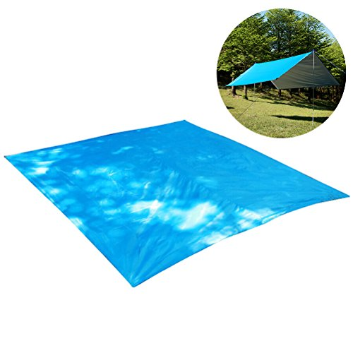 WINOMO Camping Shelter Hammock Rain Fly Tent Tarp Essential Survival Gear Compact Lightweight Easy to Set Up Tent (Blue) by WINOMO