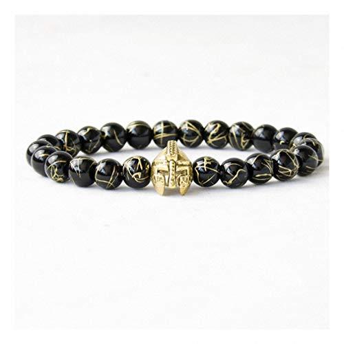 Womens Mens Bracelet Antique Men Roman Warrior Gladiator Spartan Helmet Bracelet Beaded Onyx Stone Bracelets for Men Jewelry Golden ()