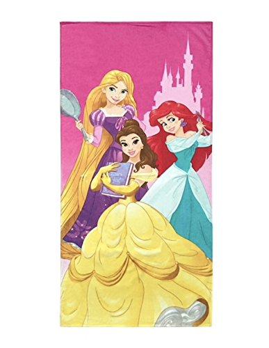 Disney Princess Super Soft & Absorbent Kids Bath/Pool/Beach Towel, Featuring Belle, Ariel & Rapunzel - Fade Resistant Cotton Terry Towel, Measures 28 inch x 58 inch (Official Disney Product)
