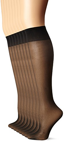 Nylon Socks High Knee Sheer - L'eggs Women's Plus-Size Everyday Knee High Sheer Toe (Pack Of 8), Jet Black, One Size