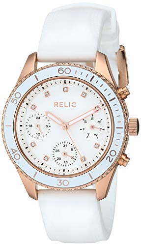 Relic by Fossil Women's Jean Quartz Watch with Silicone Strap, White, 18 (Model: ()
