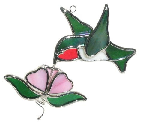 Ruby Throated Hummingbird and Flower Stained Glass Suncatcher by Unknown