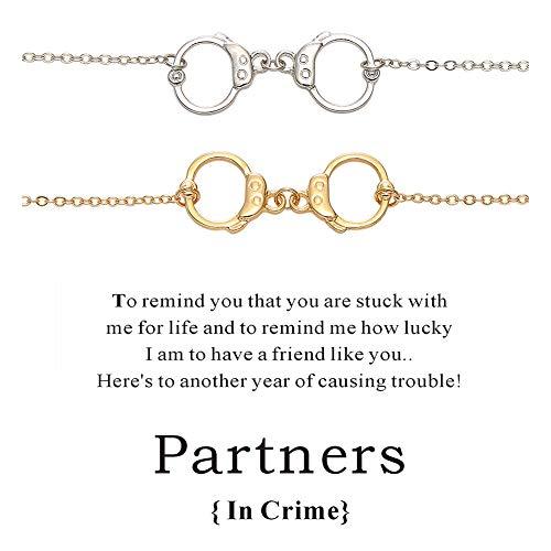 (Cyberny Enfianced 2pcs Friendship Bracelets Handcuffs Charm Bracelet for Women)