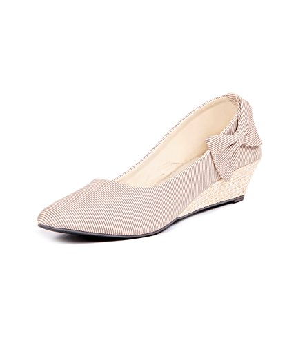 Ten Womens Beige Denim Pump Wedges (TENBLWGSTY) -7 UK