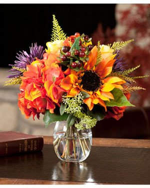 Rose, Hydrangea & Sunflower Silk Flower Arrangement