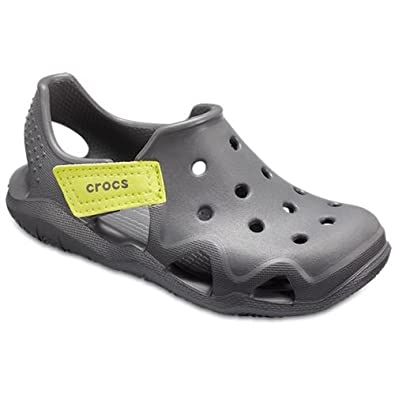 c7af75d7e Crocs Kids Swiftwater Wave Relaxed Fit Clogs Shoes Sandals in Slate Grey    Tennis Ball Green 204021 08I  Amazon.co.uk  Shoes   Bags