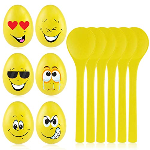 Fun Halloween Relay Races (iBaseToy Egg and Spoon Race Game for Kids and Adults, 6Pcs Finest Wooden Spoons & 6Pcs Eggs for Fun Party Games, Birthday Games, Outdoor)