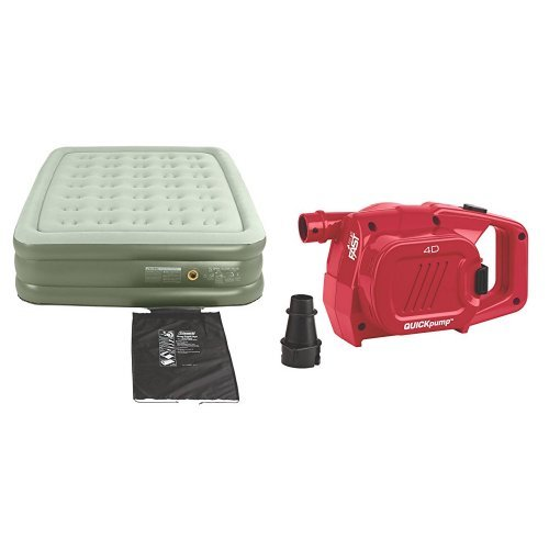 Coleman SupportRest Double High Airbed - Queen and Coleman QuickPump 4D Battery Pump Bundle
