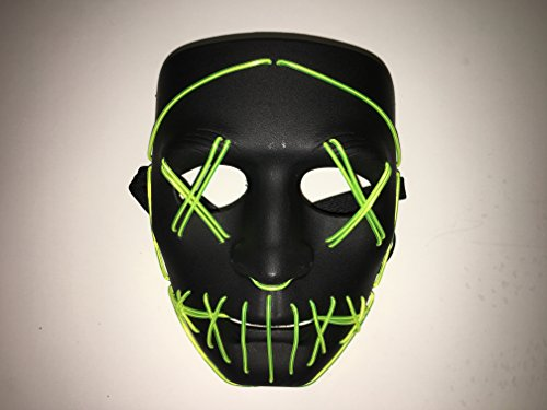 Purge Mask Halloween Led Mask Flames Skull Mask Light Up Mask Flashing Carnival Masks for Show Halloween Festival Parties
