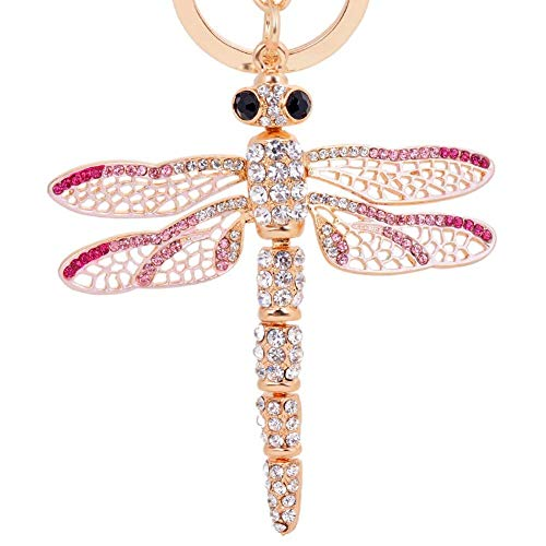 (EASYA Dragonfly Keychain Crystal Movable Wings Key Ring Women Handbag Charm Pendant Purse Key Ring Boutique Gift for Friends,Pink)