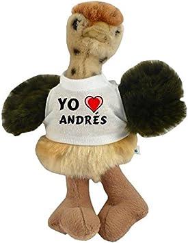Avestruz personalizado de peluche (juguete) con Amo Andrés en la camiseta (nombre de pila/apellido/apodo)
