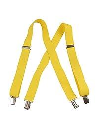 Jumbo Clip Suspenders (1.5 Inch)- Canary Yellow