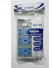 مشترك كهربائي طول 2 متر - 5 منافذ - 2 منفذ USB، تيار مستمر 5 فولت / 1 امبير - 2.1 امبير